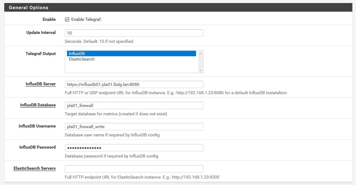 PfSense to influxDB - Monitoring
